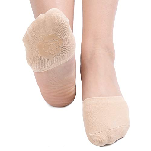 Flammi Women's 6 Pairs Toe Toppers Liner Socks Half Socks with Non-Skid Bottom (Beige)