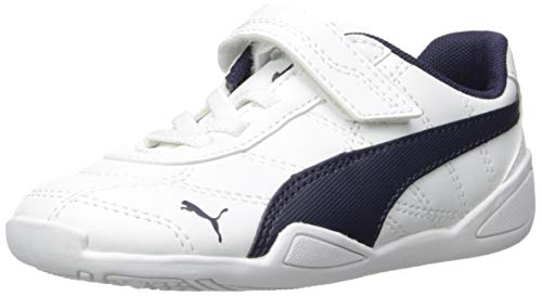 PUMA Unisex-Baby Tune Cat 3 Velcro Sneaker, White Peacoat, 7 M US Toddler ()