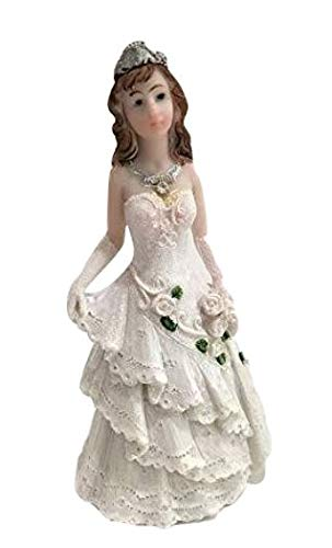 Tiara Princess Girl Figurine Holding Flowers Cake Topper Decoration For Sweet 16 Birthday Quinceanera 5