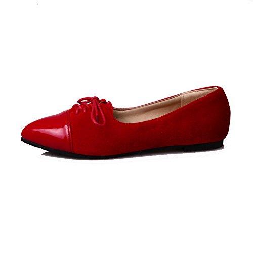 Allhqfashion Femmes Lacets Bout Pointu Talon Bas Pompes Solides-chaussures Rouge