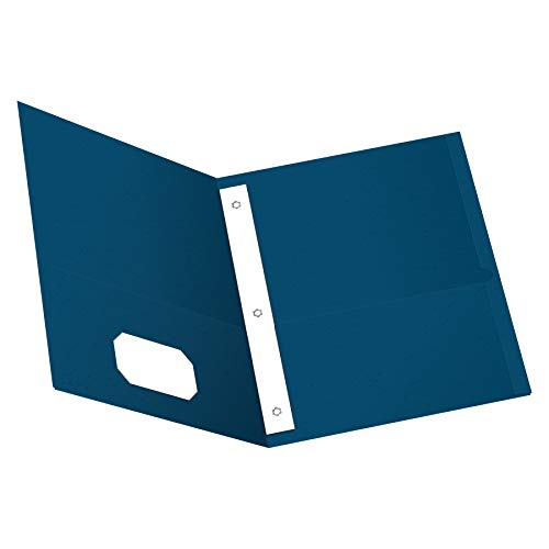 (Oxford Two-Pocket Folders w/Fasteners, Blue, Letter Size, 25 per box (57702))