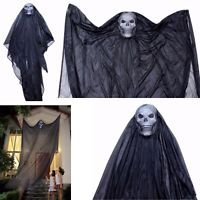 BUNITA,Hanging Ghost Halloween Decoration Outdoor Scary Spooky Home Decor 7' X 5' Black,halloween home (Jersey Shore Themed Party)