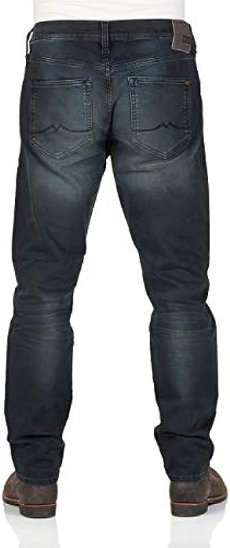 MUSTANG dżinsy męskie Oregon - Tapered Fit - niebieskie - Denim Blue: Odzież