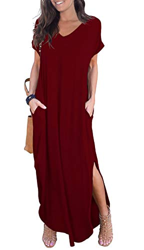 (GRECERELLE Womens Casual V Neck Side Split Beach Long Maxi Dress Wine Red S)
