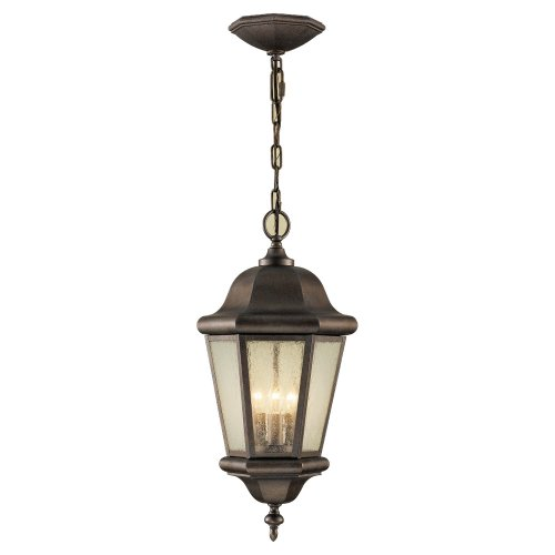 Sea Gull Lighting OL5911CB Martinsville Three Light Outdoor Pendant Lantern, Bronze