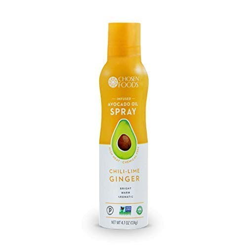 - Chosen Foods Chili-Lime Ginger Avocado Oil Spray 4.7 oz., Non-GMO, 500° F Smoke Point, Propellant-Free, Air Pressure Only for High-Heat Cooking, Baking and Frying