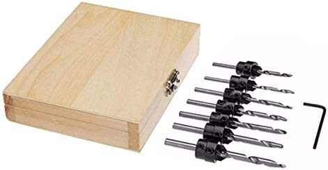 YASE-king 7pcs Countersink Drill Bit Set Tapered Stop Collar Wood Hole Screw Kit for Woodworking Drill Bits