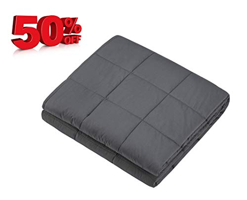 Cheap Weighted Blanket for Man Women Teens and Kids |100% Cotton with Glass Beads Heavy Blanket for Fast Sleep (15 lbs 48 x 78 ) Black Friday & Cyber Monday 2019