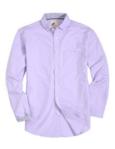 Purple Oxford - MensCasualButtonDownDress ShirtLongSleeve Cotton RegularFitOxfordShirts (OX-Purple, XL)