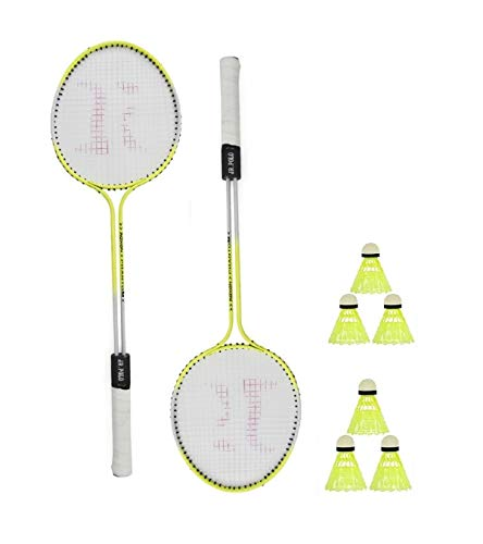 ZoraX Multicolor Double Shaft Iron Body Badminton Racquet Complete Kit for Indoor and Outdoor Playing