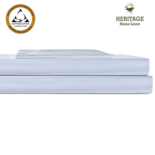 - Heritage Home Linen Bed Twin XL Sheet Set Egyptian Cotton Blend 800 Thread Count 2cm Stripes Sateen Weave with Hem Stitch Deep Pockets Upto 18