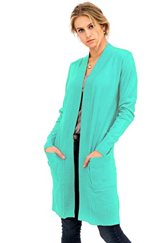 Mint Long (Solid Soft Long Line Long Sleeve Side Slits Open Cardigan Mint XL)
