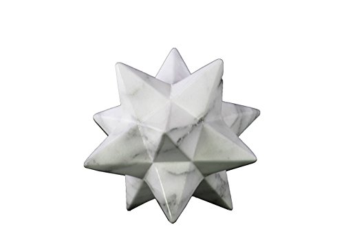 Urban Trends Ceramic 12 Point Stellated Icosahedron Sculpture with Streaks, Small, Marbleized White/Gray from Urban Trends
