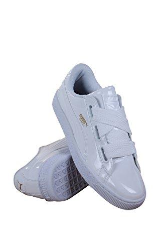 White Womens Fashion Shoes (PUMA Women's Basket Heart Patent Wn's Sneaker, White White, 7 M US)