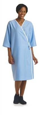 front opening exam gown Solid blue
