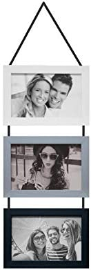 Porta Retratos Trio Com Cordão Para 3 Fotos 10x15cm Kapos Branco/Prata/Preto