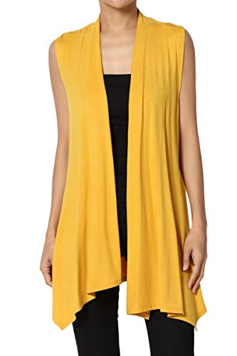 Sweater Vest Top - TheMogan Women's Sleeveless Waterfall Jersey Cardigan Asymmetric Vest Mustard L
