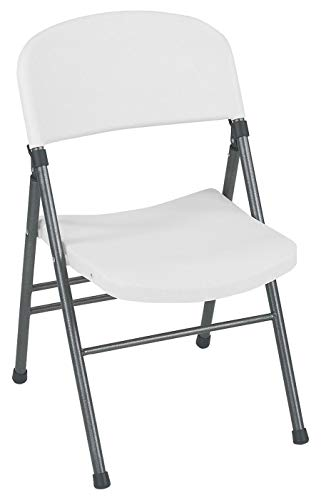 Cosco Resin Folding Chair with Molded Seat and Back White Speckle ()