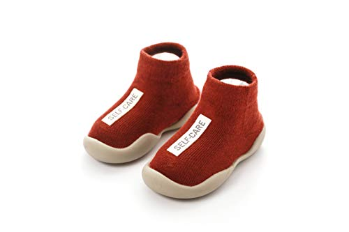 (Baby Toddler Sock Shoes Stretch Knit Sneakers Kids Slippers Unisex (6-36 Months) (US 7, Red))