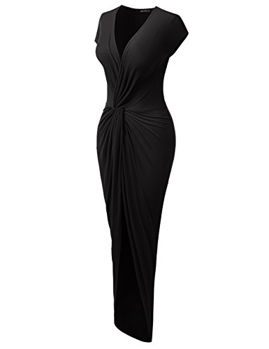 Short Sleeve Tulip-Hem Surplice Wrap Maxi Dress For Women