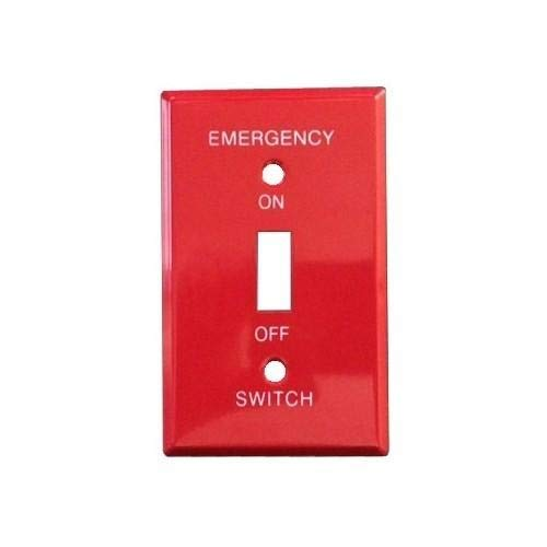 (Morris 83501 Emergency Metal Switch Plate, 1 Gang, Red)