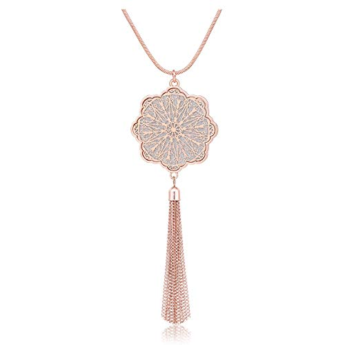 - MOLOCH Long Necklaces for Woman Disk Circle Pendant Necklaces Tassel Fringe Y Necklace Set Statement Pendant (Floral-Shaped-Rose Gold)