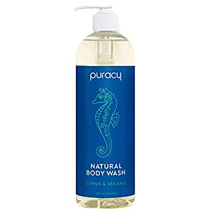 Puracy Natural Body Wash, Sulfate-Free Bath and Shower Gel, Citrus & Sea Salt, 16 Ounce