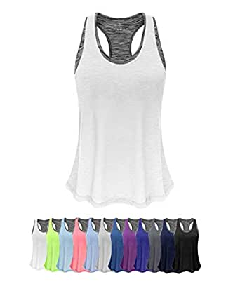 FAFAIR Women Tank Top with Built in Bra, Lightweight Yoga Camisole for Workout Gym Fitness - White - X-Small