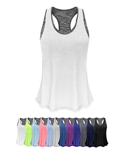 (Women Tank Top with Built in Bra, Lightweight Yoga Camisole for Workout Gym Fitness(White&Gray Bra, S))