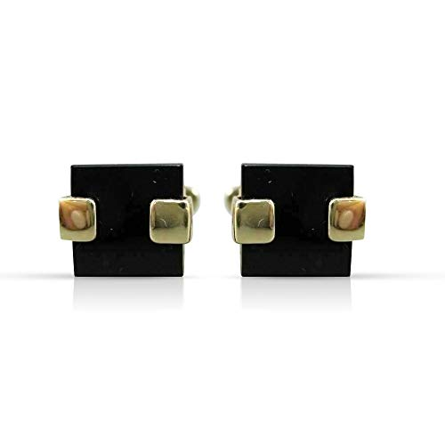 Milano Jewelers Large AAA Black Onyx 14K Yellow Gold Square Cuff Links Great Gift! #21202 ()