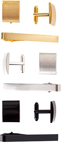 Cufflinks and Tie Clip Set - 3 Couples - Gift Box (Gold Silver Black)