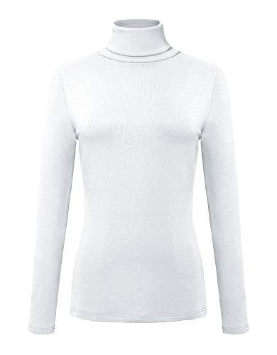 (Urban CoCo Women's Solid Turtleneck Long Sleeve Sweatshirt (L, White))