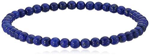 (4mm Smooth Round Lapis Lazuli Stretch Bracelet,)