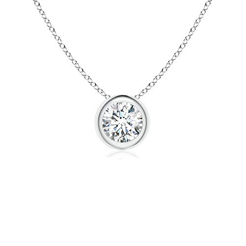 Bezel-Set Round Moissanite Solitaire Pendant in 14K White Gold (4mm Moissanite)