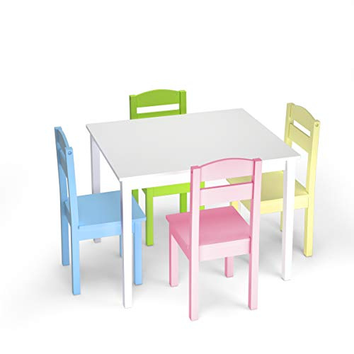 Costzon Kids Wooden Table and Chairs, 5 Pieces Set Includes 4 Chairs and 1 Activity Table, Picnic Table with Chairs (White & Pastel)