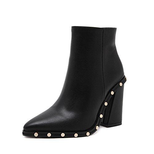 MENGDA Designer Western Pointed Toe Wooden Heel cowboy Ankle Boot Moto Bootie (7.5)