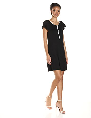 kensie Women's Drapey French Terry Dress, Black Combo, L