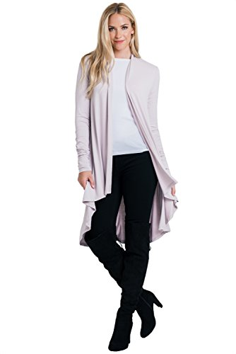 ReneeC. Women's Natural Bamboo Super Soft Open Front Long Cardigan - Made in USA (Large, - Wool Purple Coat