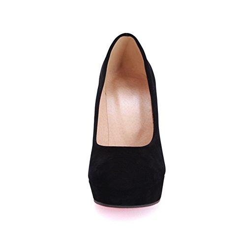 Balamasa Mujeres Chunky Heels Platform Low-cut Uppers Suede Pumps-Zapatos Black
