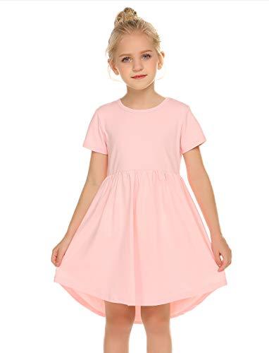 Balasha Girls Dress Short Sleeve A-Line High Low Casual Skater -