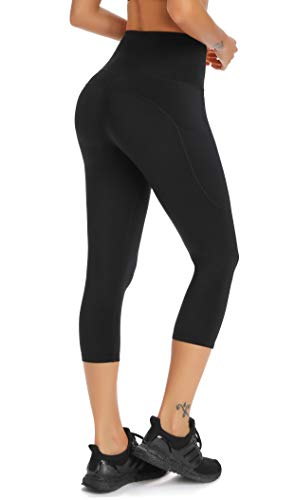 Olacia Womens Yoga Workout Leggings High Waisted 4-Way Stretch Capris Tummy Control Athletic Running Leggings with Pockets, Black, Medium