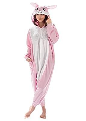 Adult Onesies Kigurumi Cosplay Costume: Bunny Hood Animal Onesie Furries Pajamas for Men & Women