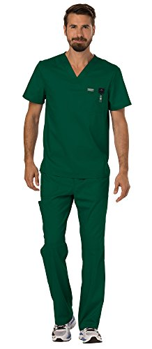 - Cherokee Workwear Revolution Men's Medical Uniforms Scrubs Set Bundle - WW690 V-Neck Scrub Top & WW140 Zip Fly Cargo Scrub Pants & MS Badge Reel (Hunter Green - Medium/Small)