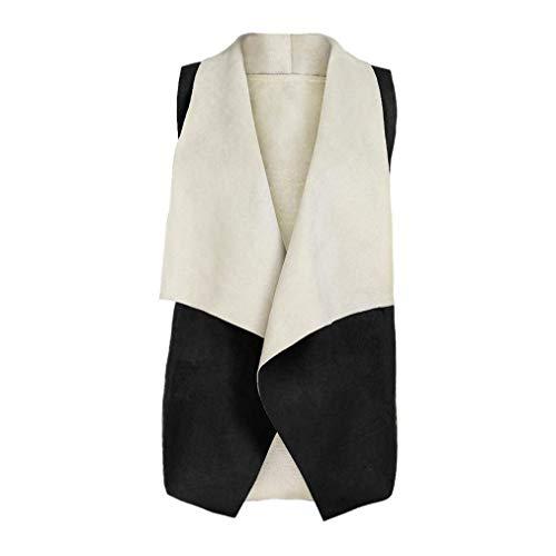 Manteau Printemps Désinvolte Bouffant Femme Manches Elégante Vintage Automne Gilet Style Sans Outerwear Fashion Blouson Revers Schwarz Irrégulier Suède Spécial qTO5S74w