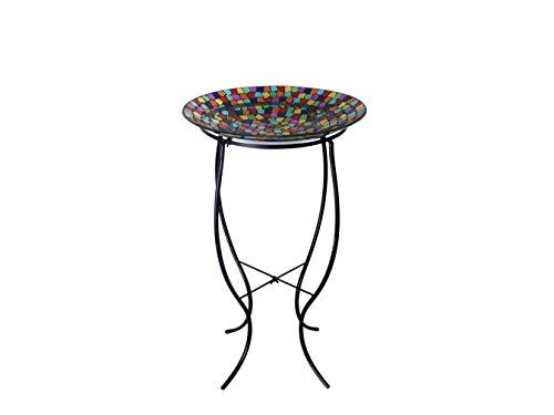 Alpine GRS593A-16 Mosaic Birdbath with Metal Stand, Multicolor
