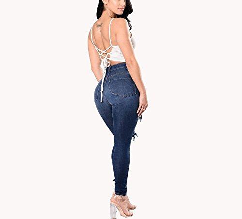 Pantaloni vita alta Blu Jeans strappati a Jeans da estivi con Jeans skinny FuweiEncore Zipper jeans donna donna Jeans Pantaloni skinny buchi gn84wd