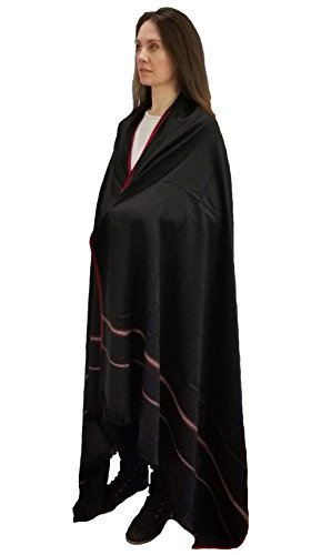 Buddha Blanket, Tibetan Meditation Shawl, Indian Yoga Blanket, Oversize Scarf, Wool Wrap, Spiritual Gifts, Unisex (Extra Large 8' x 4') (Black)