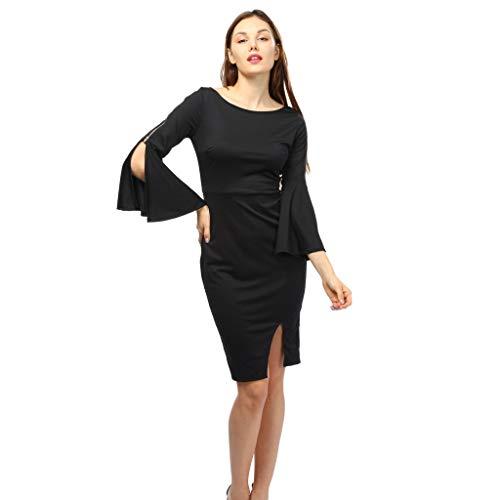 Women Dress Daoroka Ladies Zipper Wear Work Office Pencil Flare Sleeve Elegant Casual Skirt Bodycon Sheath Party Dress (S, Black) (L, Black)