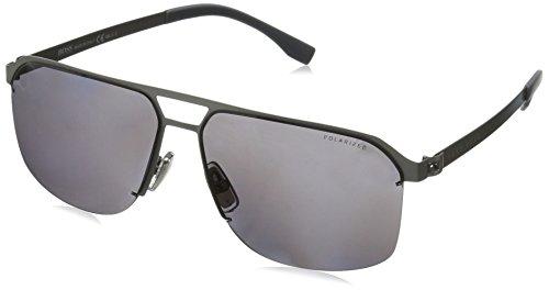 BOSS by Hugo Boss Men's B0839s Polarized Rectangular Sunglasses, Matte Ruthenium/Smoke Polarized, 61 - Boss Hugo Sunglasses