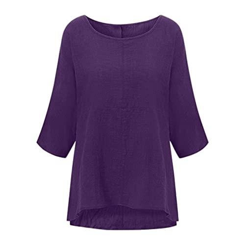 Women's Tunic Tops,2021 Women Solid Color Cotton Blend Round Neck Three-Quarter Sleeve Top(Purple_9,M)